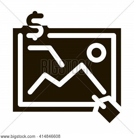 Art Painting Auctioned Glyph Icon Vector. Art Painting Auctioned Sign. Isolated Symbol Illustration