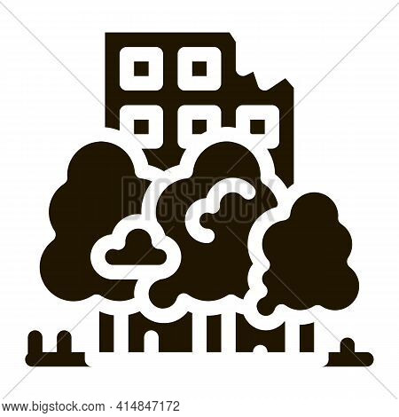 Forest Ruined House Background Glyph Icon Vector. Forest Ruined House Background Sign. Isolated Symb