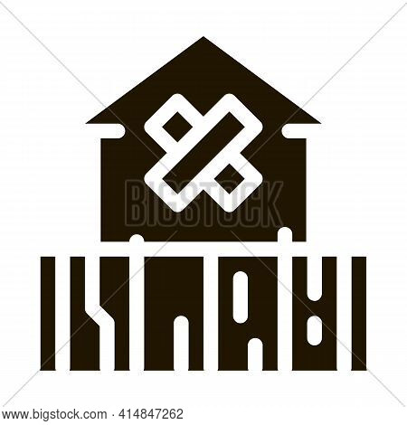 Enclosed Non-residential Building Glyph Icon Vector. Enclosed Non-residential Building Sign. Isolate