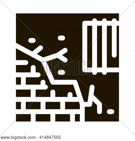 Dropped Foundation Of House Glyph Icon Vector. Dropped Foundation Of House Sign. Isolated Symbol Ill