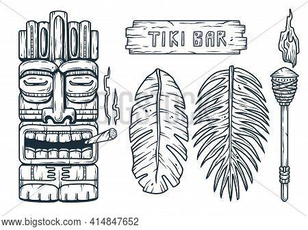 Set Of Hawaii Tiki Mask Or Face Idol. Ethnic Totem