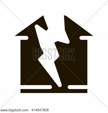 Lightning Destroyed House Glyph Icon Vector. Lightning Destroyed House Sign. Isolated Symbol Illustr