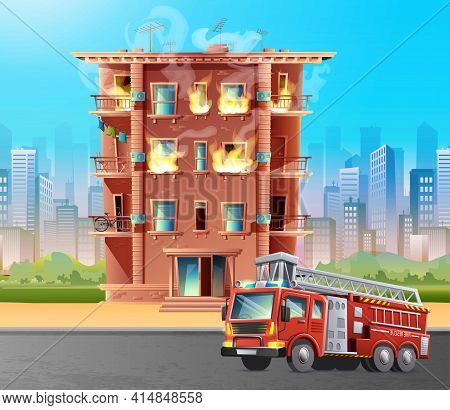 Vector Cartoon Style Illustration Of Building On Fire With Fire Brigade Car In Front To Rescue. On C