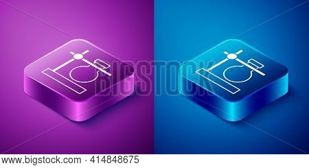 Isometric Glass Test Tube Flask On Stand Icon Isolated On Blue And Purple Background. Laboratory Equ