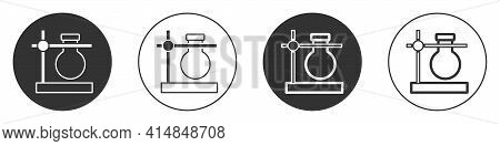 Black Glass Test Tube Flask On Stand Icon Isolated On White Background. Laboratory Equipment. Circle