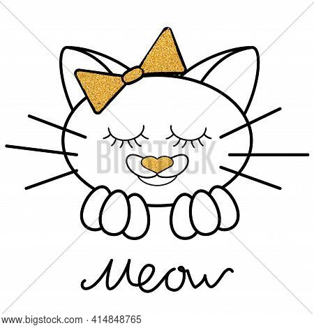 Black Line Cat With Gold Glitter Texture With Bow And Letters Isolated Meow On White Background. Vec