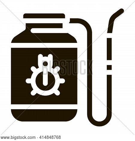 Portable Poison Tank For Beetles Glyph Icon Vector. Portable Poison Tank For Beetles Sign. Isolated