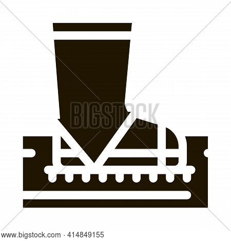 Aeration Ground With Boot Glyph Icon Vector. Trample Ground With Boot Sign. Isolated Symbol Illustra