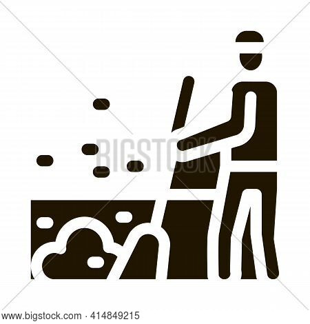 Janitor Sweep Glyph Icon Vector. Janitor Sweep Sign. Isolated Symbol Illustration