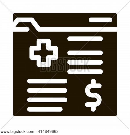 Medical Card In Paid Hospital Glyph Icon Vector. Medical Card In Paid Hospital Sign. Isolated Symbol