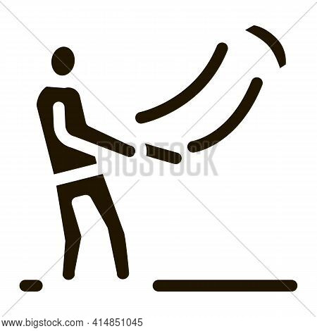 Man With Kite Glyph Icon Vector. Man With Kite Sign. Isolated Symbol Illustration