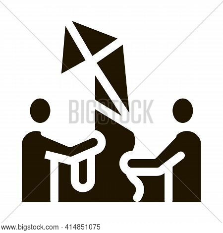 People And Flying Kite Glyph Icon Vector. People And Flying Kite Sign. Isolated Symbol Illustration