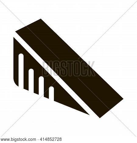 Triangular Piece Of Cheese Glyph Icon Vector. Triangular Piece Of Cheese Sign. Isolated Symbol Illus