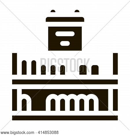 Cheese Shelf Counter Glyph Icon Vector. Cheese Shelf Counter Sign. Isolated Symbol Illustration
