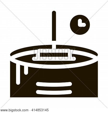 Cheese Melting Time Glyph Icon Vector. Cheese Melting Time Sign. Isolated Symbol Illustration
