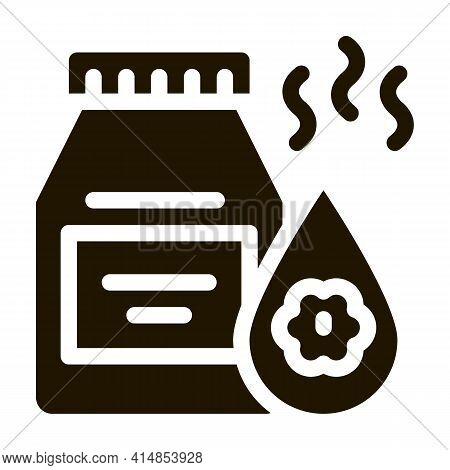 Floral Elixir Bottle Glyph Icon Vector. Floral Elixir Bottle Sign. Isolated Symbol Illustration