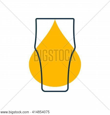 Modern Abstract Illustration With Glass Beer With Yellow Blob. Linear Outline Sign. Logo Illustratio