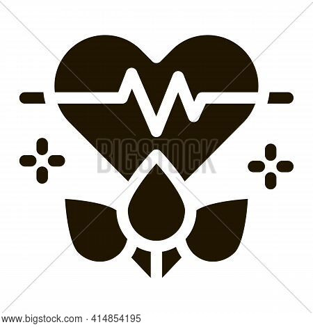 Plant For Restoration Of Heart Glyph Icon Vector. Plant For Restoration Of Heart Sign. Isolated Symb