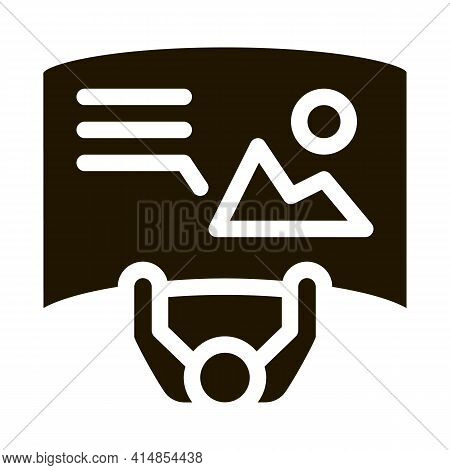 Man With Detailed Posters Top View Glyph Icon Vector. Man With Detailed Posters Top View Sign. Isola