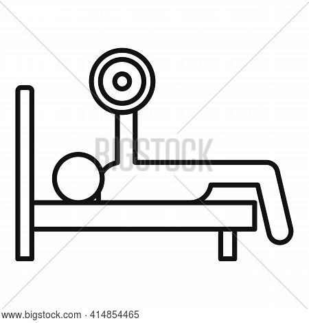 Bench Press Icon. Outline Bench Press Vector Icon For Web Design Isolated On White Background