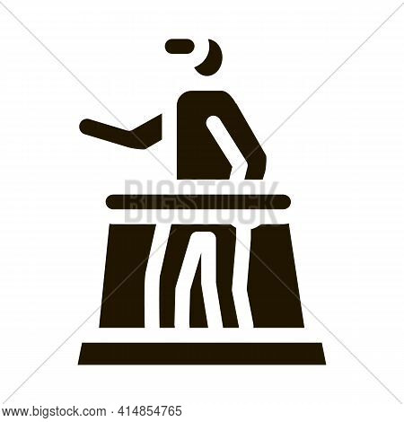 Man With Glasses Learns Virtual Reality Glyph Icon Vector. Man With Glasses Learns Virtual Reality S
