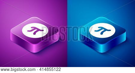 Isometric Pi Symbol Icon Isolated On Blue And Purple Background. Square Button. Vector