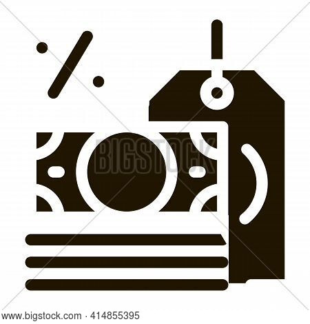 Interest Is Money Glyph Icon Vector. Interest Is Money Sign. Isolated Symbol Illustration