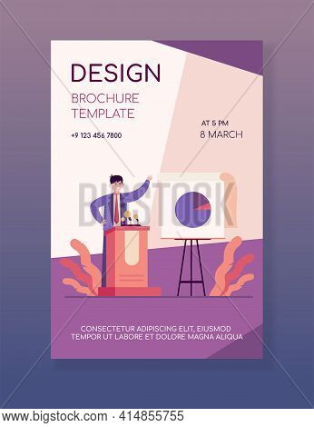 Happy Speaker Presenting Report. Leader, Candidate At Tribune, Chart, Diagram Flat Vector Illustrati
