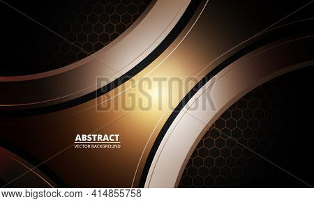 Dark Futuristic Abstract Brown Metallic Sport Vector Background With Hexagon Carbon Fiber. Dark Back