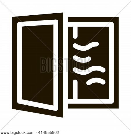 Draft In Window Glyph Icon Vector. Draft In Window Sign. Isolated Symbol Illustration