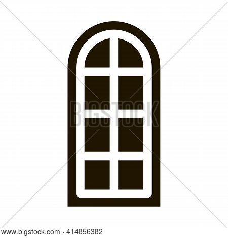 Arched Window Consisting Of Square Glasses Glyph Icon Vector. Arched Window Consisting Of Square Gla