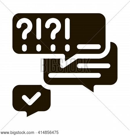 Many Questions And Answers Glyph Icon Vector. Many Questions And Answers Sign. Isolated Symbol Illus