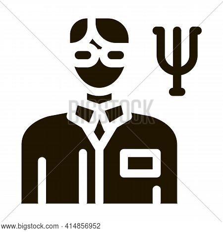 Scientific Medical Representative Of Psychology Glyph Icon Vector. Scientific Medical Representative