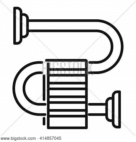 Hot Heated Towel Rail Icon. Outline Hot Heated Towel Rail Vector Icon For Web Design Isolated On Whi