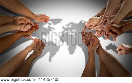 World Population Concept As Diverse International Community And Earh Diversity With People Working T