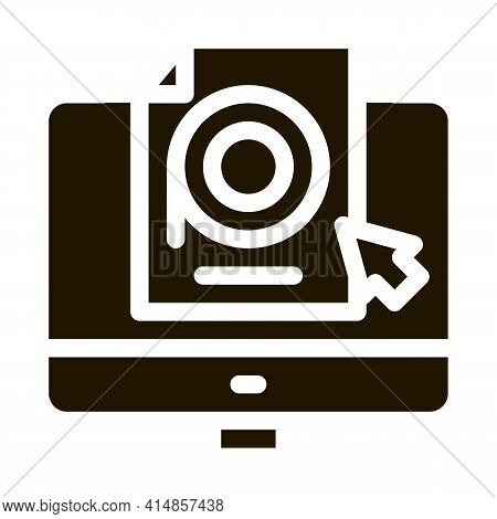 Selection Of Video Document On Computer Glyph Icon Vector. Selection Of Video Document On Computer S