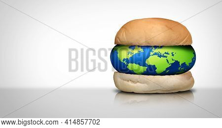 World Cuisine And Global Food Concept As The Planet Earth As A As A Hamburger Bun For International
