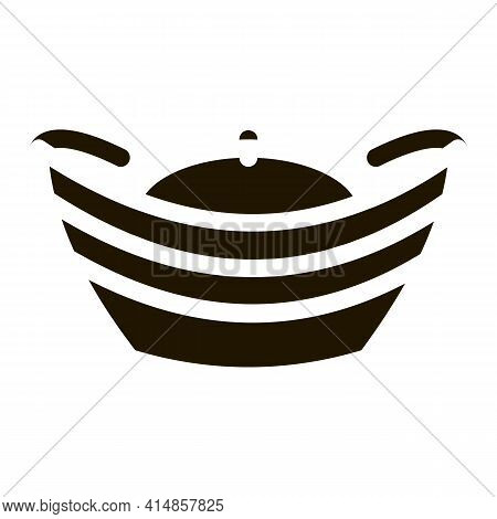 Hat With Top Curled Up Glyph Icon Vector. Hat With Top Curled Up Sign. Isolated Symbol Illustration