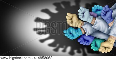 Doctor And Nurse Hero Group To Fight Disease As Health Workers Or Essential Care Medical Staff And H
