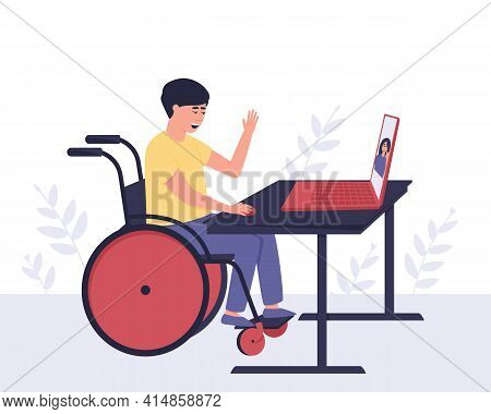 A Disabled Guy Communicates With A Girl He Knows Through Video Communication. Internet Communication