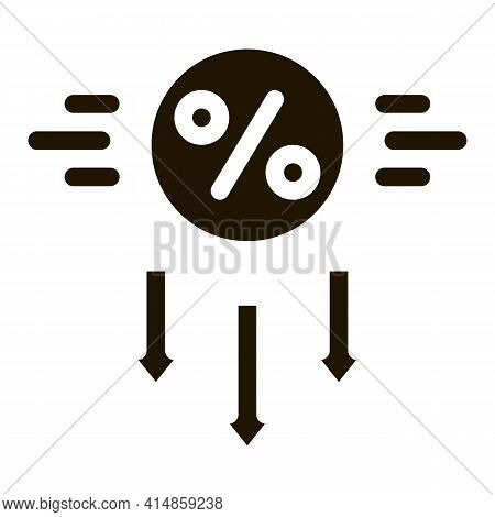 Falling Interest Down Glyph Icon Vector. Falling Interest Down Sign. Isolated Symbol Illustration