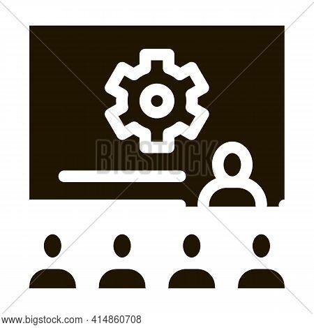 Presentation Blackboard Glyph Icon Vector. Presentation Blackboard Sign. Isolated Symbol Illustratio