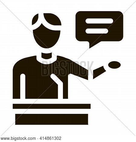 Seminar Speaker Glyph Icon Vector. Seminar Speaker Sign. Isolated Symbol Illustration