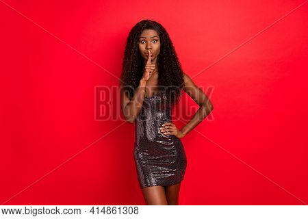 Photo Of Young Black Girl Cover Finger Lips Keep Secret Shh Private Conspiracy Isolated Over Red Col
