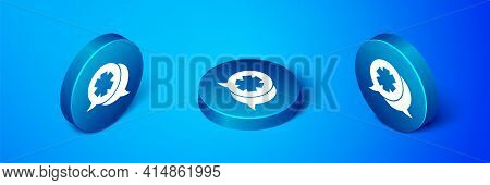 Isometric Dialogue With The Doctor Icon Isolated On Blue Background. Doctor And Patient Dialog. Cons
