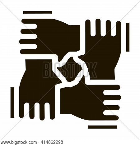 Multiracial Group Hands Holding Glyph Icon Vector. Multiracial Group Hands Holding Sign. Isolated Sy