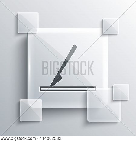 Grey Medical Surgery Scalpel Tool Icon Isolated On Grey Background. Medical Instrument. Square Glass