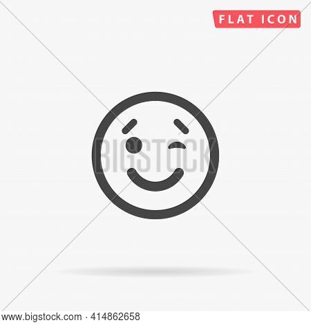 Wink Face Flat Vector Icon. Hand Drawn Style Design Illustrations.