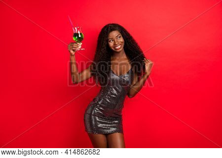 Photo Of Young Attractive African Girl Happy Positive Smile Drink Alcohol Flirty Party Isolated Over