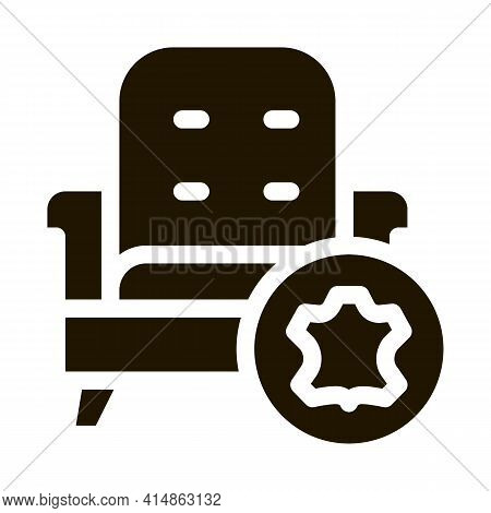 Leather Armchair Glyph Icon Vector. Leather Armchair Sign. Isolated Symbol Illustration